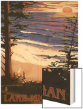 Lake Michigan - Sunset on Beach Wood Print by  Lantern Press