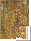 Farmers Garden with Crucifix Wood Print by Gustav Klimt