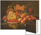 Still Life with Dish of Strawberries, Peaches and Grapes Wood Print by Severin Roesen