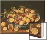 Still Life of Lemons, Oranges, and Pomegranates Wood Print by Jacob van Hulsdonck
