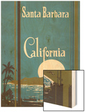 Art Deco Poster, Santa Barbara, California Wood Print