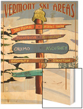 Vermont - Ski Areas Sign Destinations Wood Print by  Lantern Press