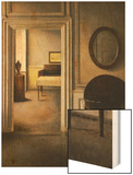 The Music Room, 30 Strandgade, circa 1907 Wood Print by Vilhelm Hammershoi