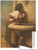 Roman Girl at a Fountain Wood Print by Leon Bonnat