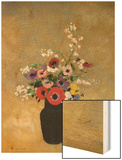 Large Green Vase with Mixed Flowers Wood Print by Redon Odilon