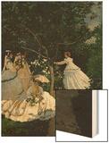 Women in a Garden Wood Print by Monet Claude