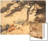 Hillside with Flowering Azalea Wood Print by Yoshida Hiroshi