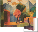 Garden On The Lake of Thun Wood Print by Auguste Macke