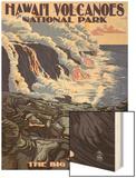 The Big Island, Hawaii - Lava Flow Scene Wood Print by  Lantern Press