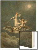 Two Fairies Standing on the Back of an Owl Beneath a Moon Wood Print by Amelia Jane Murray