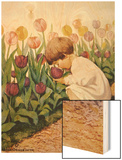 Illustration of a Child Smelling Tulips by Jessie Willcox Smith Wood Print
