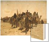 Pilgrims Going to Mecca (Pélerins Allant À La Mecque) Wood Print by Leon-Auguste-Adolphe Belly