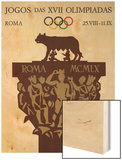 1960 Rome Olympics Poster Capitoline Wolf Wood Print