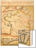 Map of French Wine Country Wood Print