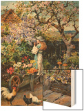 An English Cottage Garden Wood Print by William Stephen Coleman