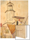 Church Steeple and Rooftops Wood Print by Hopper Edward