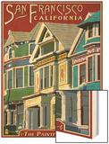 San Francisco, California - Painted Ladies Wood Print by  Lantern Press