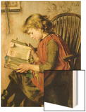 A Young Girl Reading Wood Print by Charlotte Weeks