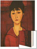 Head of a Young Girl Wood Print by Amedeo Modigliani