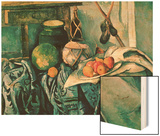 Still Life with Pitcher and Eggplant Wood Sign by Cézanne Paul