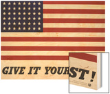 Give It Your Best! - 1942 USA Flag Wood Print by Charles Coiner