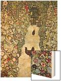 Garden Path with Chickens Wood Print by Gustav Klimt
