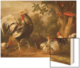 Poultry and Other Birds in the Garden of a Mansion Wood Print by Jacob Bogdany