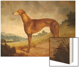 A Tan Greyhound Bitch in an Extensive River Landscape Wood Print by F. H. Roscoe