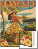 Hawaii Hula Girl on Coast Wood Print by  Lantern Press