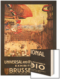Brussels, Belgium - Lebaudy Airship with World Flags at Expo Wood Print by  Lantern Press