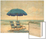 Beach Chairs 1 Wood Print by Jill Schultz-Mgannon