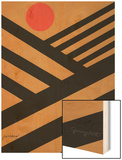 Cultivate with Red Sun Wood Print by Jerry Kott