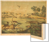 Animals and Plants of the Jurassic Era in Europe Wood Print by Ferdinand Von Hochstetter
