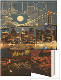 Detroit, Michigan - Skyline at Night Wood Print by  Lantern Press