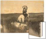 Cheyenne Indian, Wearing Headdress, on Horseback Photograph Wood Print by  Lantern Press