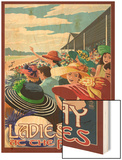 Kentucky - Ladies Day at the Track Horse Racing Wood Print by  Lantern Press