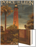 Ponce De Leon Inlet Lighthouse, Florida - Dusk Scene Wood Print by  Lantern Press