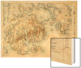 Acadia National Park - Topographic Panoramic Map Wood Print by  Lantern Press