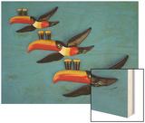 A Set of Three Carltonware Graduated Guinness Advertising Toucan Wall Hangings Wood Print