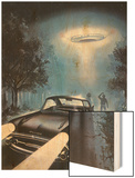 New Hampshire, Betty and Barney Hill Driving at Night See a UFO Wood Print by Terry Hadler