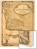 Old Map of Santa Barbara, California Wood Print