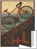 Conquer the Hill - Mountain Bike Wood Print by  Lantern Press