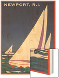 Newport, Rhode Island, Sailboat Graphics Wood Print