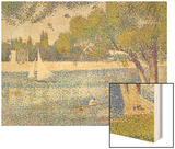 The Seine by the Island of Jatte in Spring Wood Print by Seurat Georges