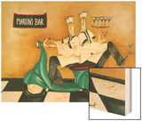 Martini Bar Wood Print by Jennifer Garant