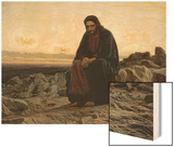 Christ in the Wilderness Wood Print by Ivan Nikolaevich Kramskoi