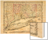 1855, Connecticut State Map Long Island Sound, Connecticut, United States Wood Print