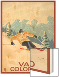 Vail, CO - Vail Downhill Skier Wood Print by  Lantern Press