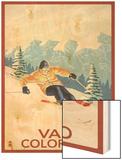 Vail, CO - Vail Downhill Skier Wood Print by  Lantern Press