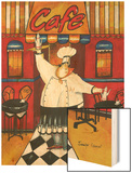 Chef at Cafe Wood Print by Jennifer Garant